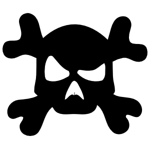 Confused Skull and Cross Bones Sticker