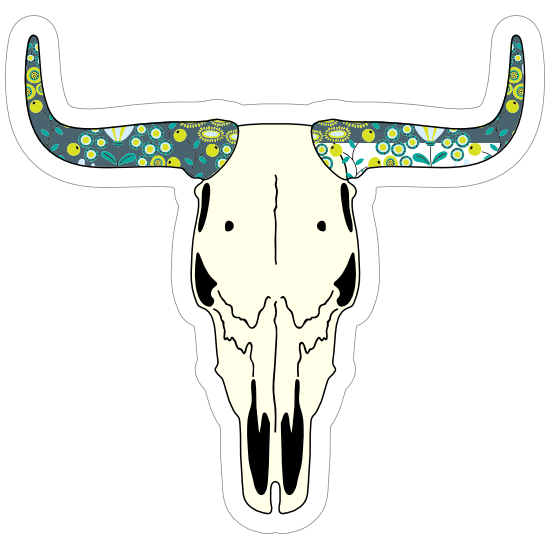 Skull Of Bull Cow With Painted Horns Sticker
