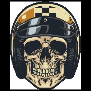 Skull In Checkered Stripe Helmet Sticker