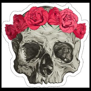 Skull In Flower Headband Sticker