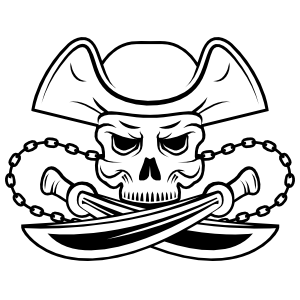 Skull Pirate with Cross Swords Sticker