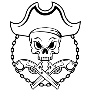 Skull Pirate over Crossed Pistols Sticker
