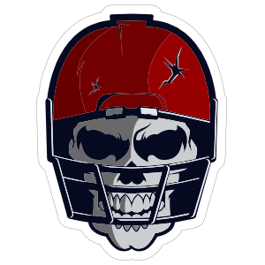 Skull in Red Cracked Football Helmet Sticker