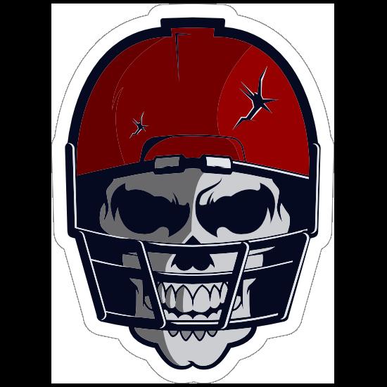 Skull in Red Cracked Football Helmet Sticker