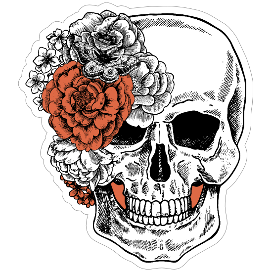 Skull With Side Bow Of Flowers Sticker