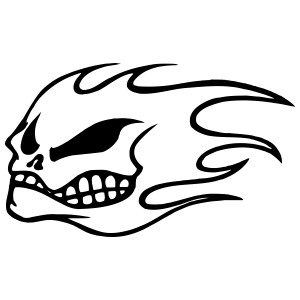Skull on Fire Sticker