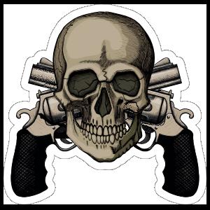 Skull on Top of Two Crossed Pistols Sticker
