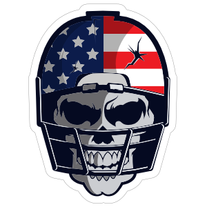 Skull in USA Football Helmet Sticker