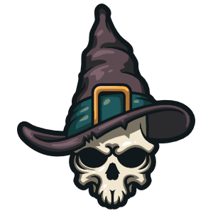 Skull With Witches Hat Sticker