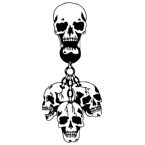 Skulls hanging from a chain sticker