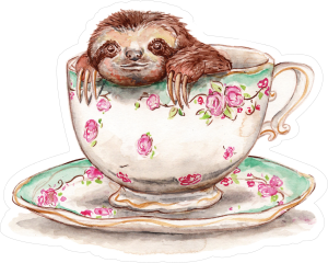 Sloth In A Teacup Sticker