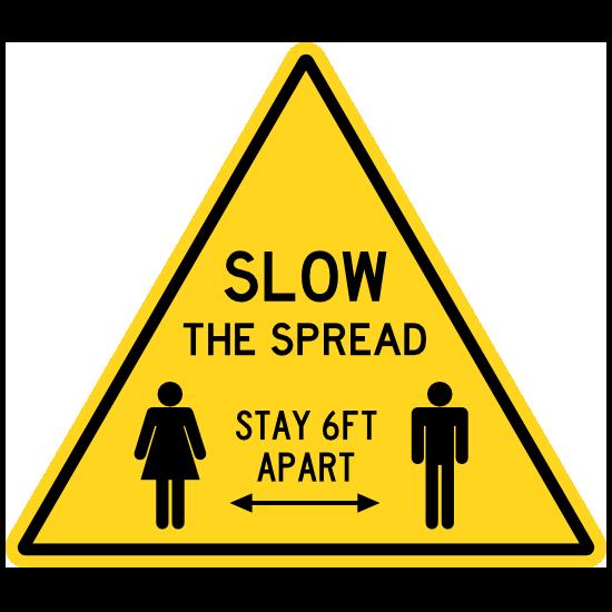 Slow The Spread Caution Sign Floor Sticker