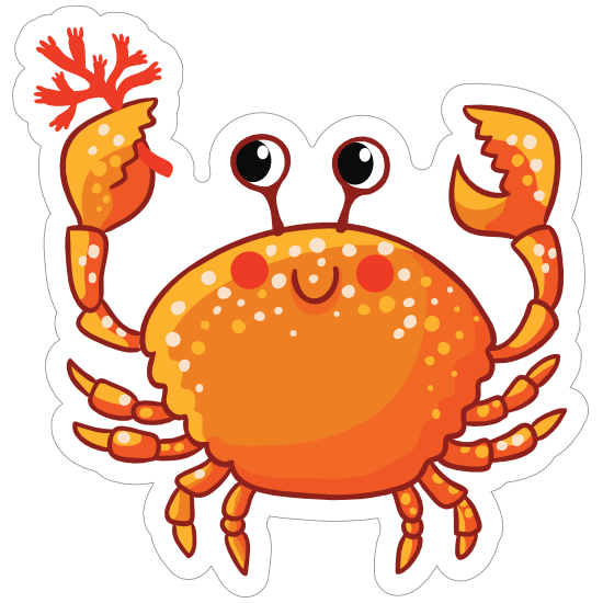 Smiling Crab Sticker