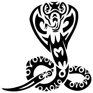 Tribal Cobra Snake With Circles Sticker