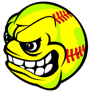 Softball With Angry Face Magnet