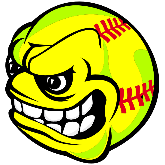 Softball With Angry Face Sticker