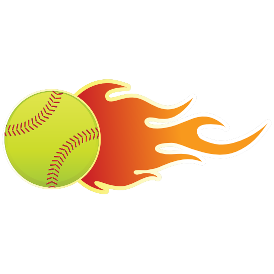 Softball With Flames Magnet