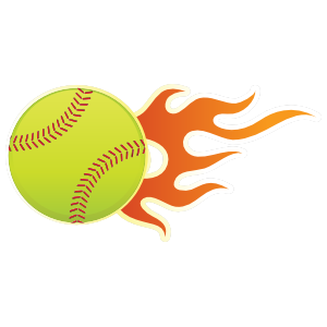 Softball With Short Flames Sticker