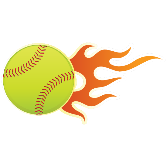 Softball With Short Flames Magnet