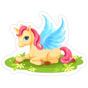 Sparkling Unicorn with Blue Wings Sticker