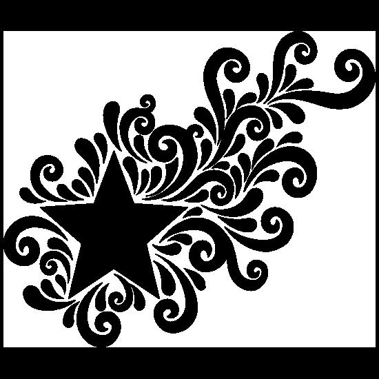 Star With Swirl Design Sticker