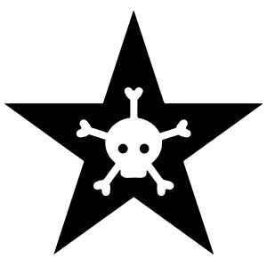 Star With Skull And Five Bones Sticker