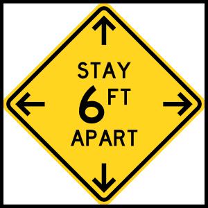 Stay 6 Ft Apart Caution Sign Floor Sticker