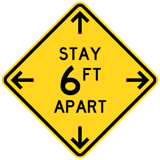 Stay 6 Ft Apart Caution Sign Floor Sticker