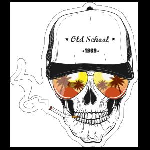 Sunrise Glasses Skull with Baseball Cap Sticker