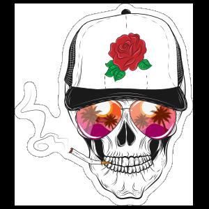 Sunset Glasses Skull with Baseball Cap Sticker