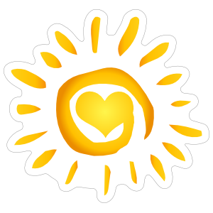 Swirly Heart Sun Sticker