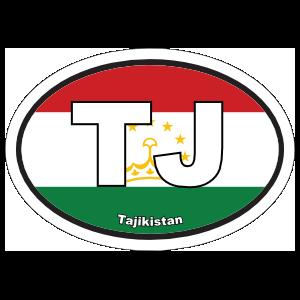 Tajikistan TJ Flag Oval Sticker