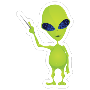 Teaching Green Alien Sticker