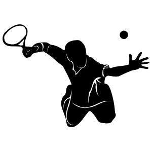Tennis Player Hitting The Ball In The Air Sticker