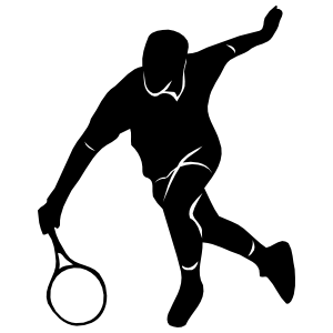 Tennis Player Running For Ball Sticker