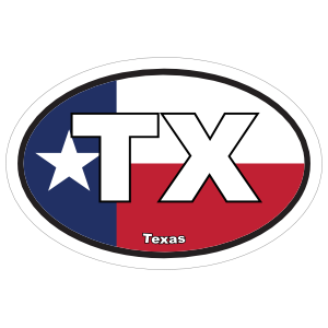 Texas Tx State Flag Oval Sticker