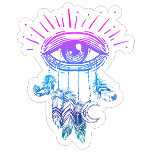 Third Eye with Feathers Boho Sticker