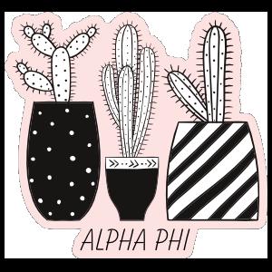 Three Succulents In Black Pots Alpha Phi Sticker