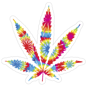 Tie Dye Pot Leaf Hippie Sticker