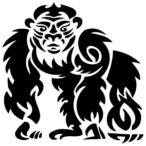 Tribal Gorilla Ape Sticker