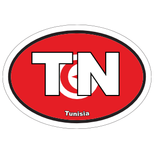 Tunisia TN Flag Oval Sticker