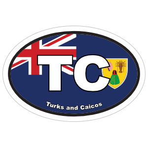 Turks and Caicos TC Flag Oval Sticker