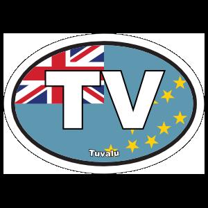 Tuvalu TV Flag Oval Sticker