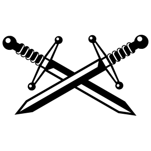 Two Crossed Swords Sticker