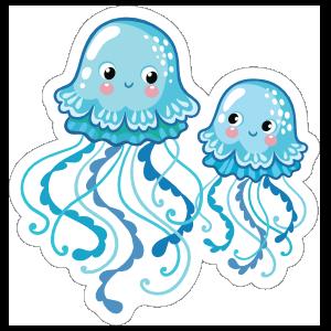 Two Little Blue Jellyfish Sticker