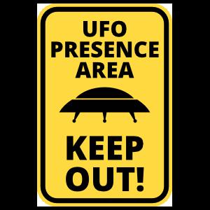 UFO Presence Rectangle Sign Sticker