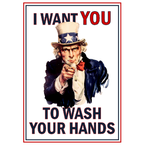Uncle Sam Wash Your Hands Sticker