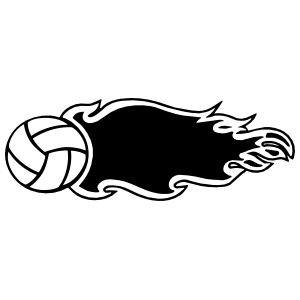 Volleyball With Flames Sticker