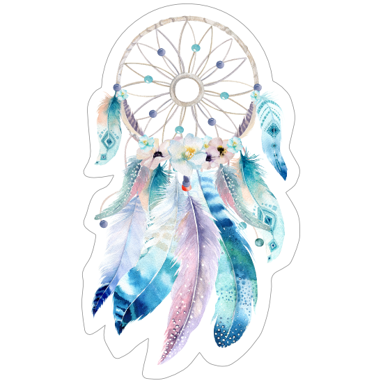 Watercolor Dream Catcher and Feathers Sticker