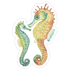 Watercolor Seahorse Duo Sticker